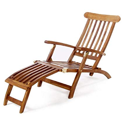 Amazon.com: All Things Cedar TF53 Teak Steamer Chair: Kitchen & Dining