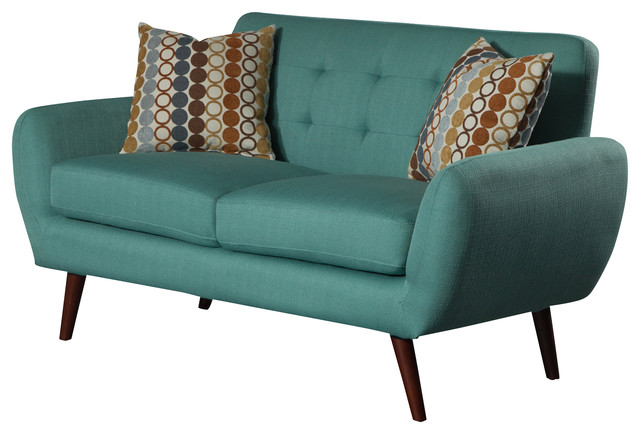 Irene Linen Love Seat - Midcentury - Loveseats - by US Furnishings