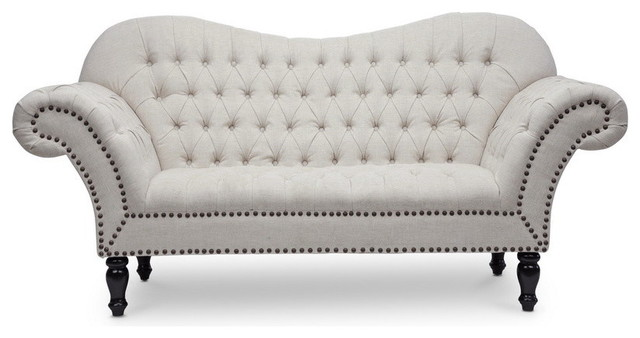 Bostwick Linen Classic Victorian Loveseat - Traditional - Loveseats