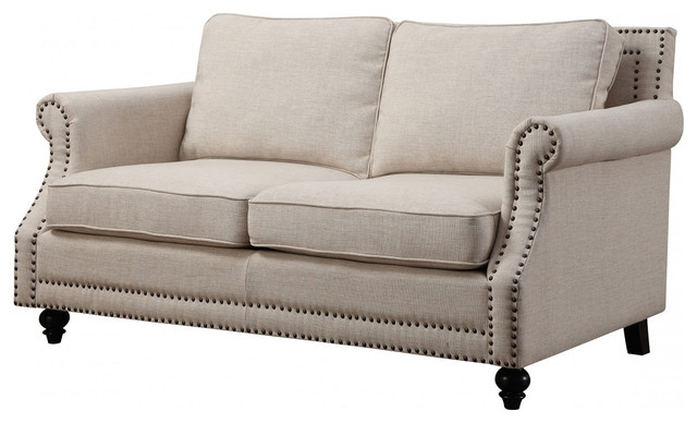 Camden Linen Loveseat - Traditional - Loveseats - by TOV Furniture