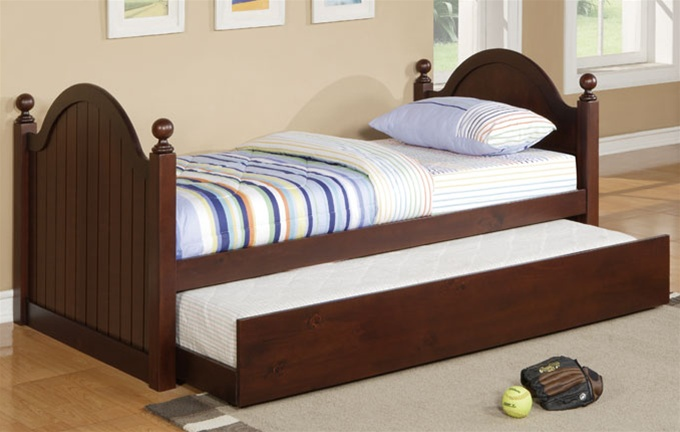 Sienna Twin Bed with Trundle Cherry | Bed Frames | Poundex Furniture