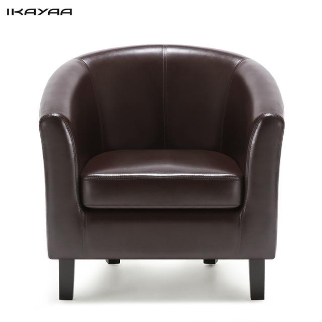 iKayaa US FR Stock Chair PU Leather Barrel Tub Chair Armchair Accent
