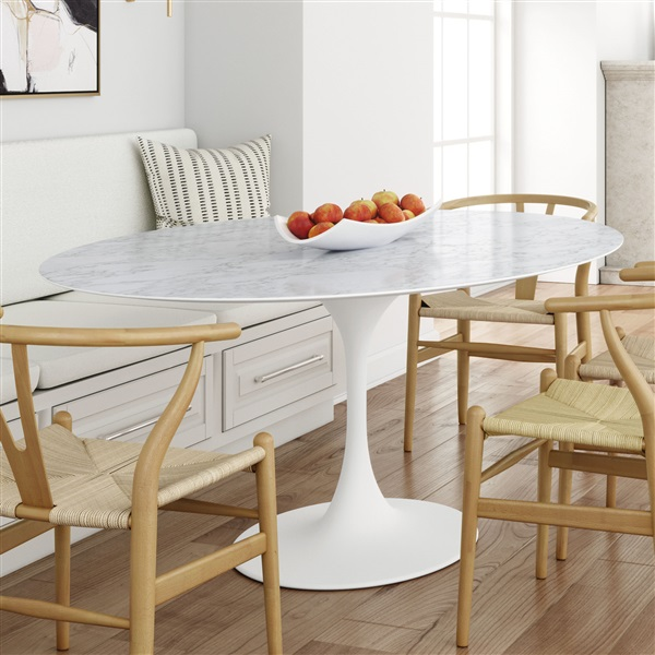 Saarinen Tulip Oval Marble Dining Table