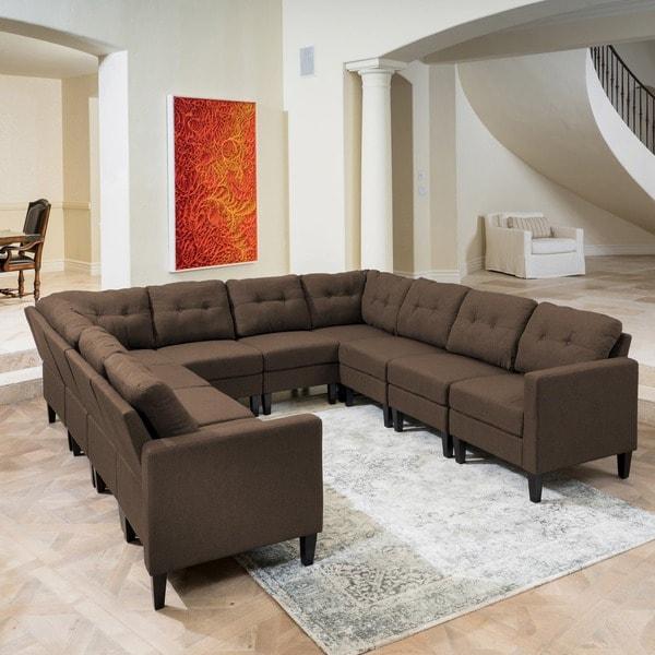 Shop Emmie Mid Century Modern 10-piece U-shaped Sectional Sofa Set
