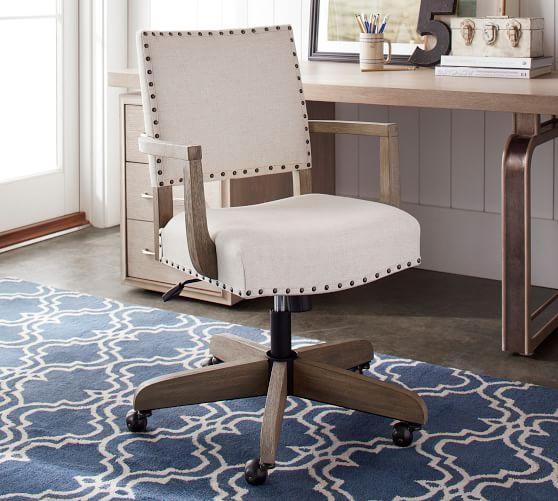 Manchester Upholstered Swivel Desk Chair | Pottery Barn
