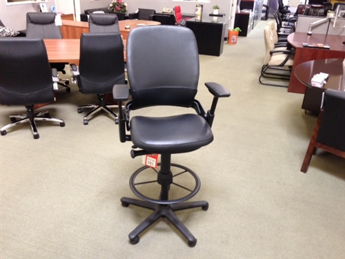 Used Drafting Stools Leap Black Leather Stool by Steelcase Chair