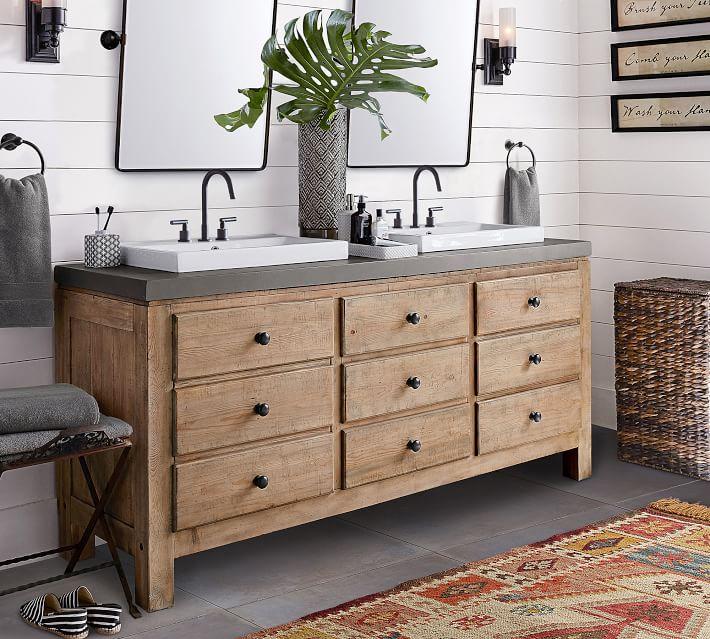 Mason Double Sink Vanity - Wax Pine | Pottery Barn