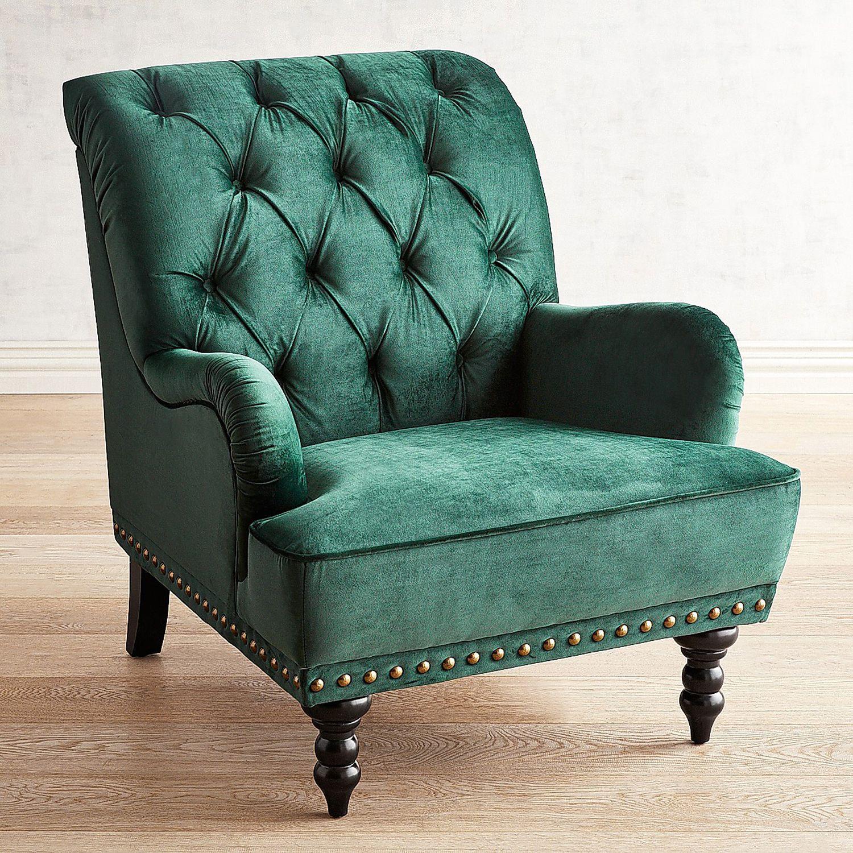 Chas Emerald Velvet Armchair | Pier 1