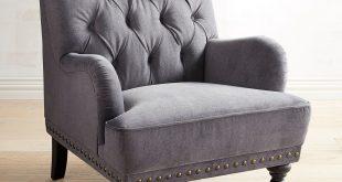 Chas Zinc Gray Velvet Armchair | Pier 1