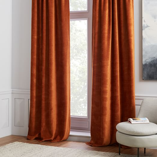 Worn Velvet Curtain - Copper | west elm