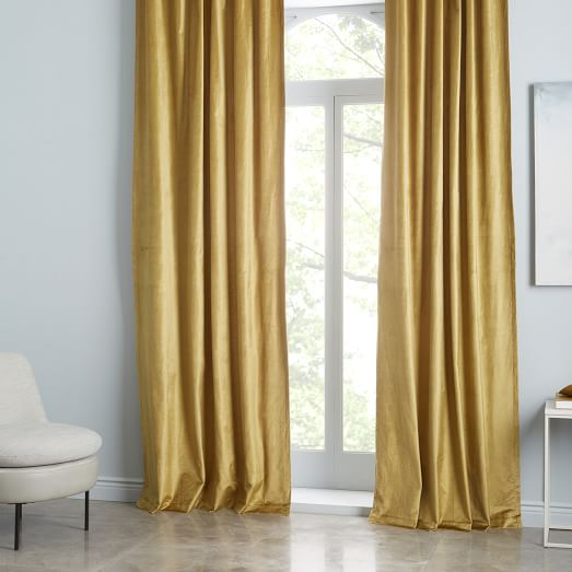 Cotton Luster Velvet Curtain - Wasabi | west elm