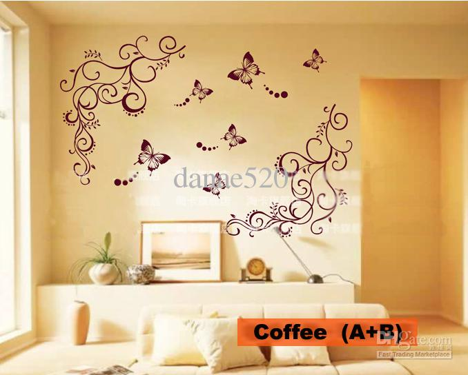 Butterfly Vine Flower Wall Art Stickers Decals Wall Paster House
