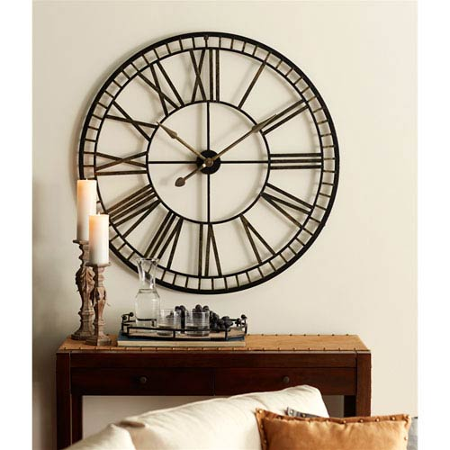 Melrose International Oversized Black And Gold Metal Wall Clock