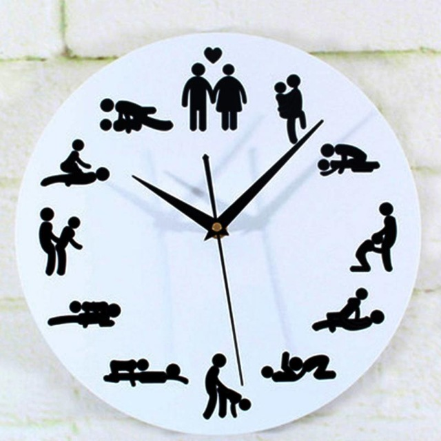 Home Decoration Personality Sex Position Clock Novelty Wall Clock-in