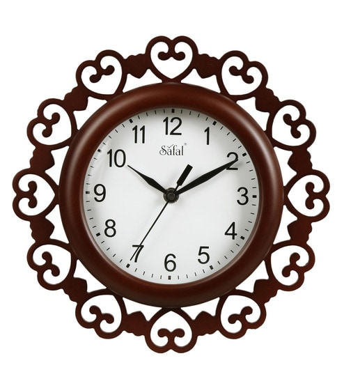 Buy Brown Engineered Wood Wall Clock by Safal Quartz Online