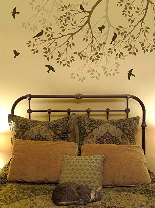 Wall Stencil Spring Songbirds - Reusable stencils better than decals