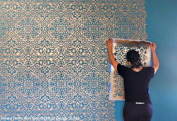 How to Stencil a Wallpaper Look for Less! | Stenciled & Painted