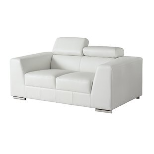 Off White Leather Loveseat | Wayfair