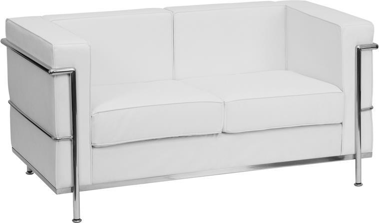 HERCULES Regal Series Contemporary Melrose White Leather Loveseat