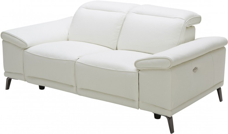 J&M Gaia White Leather Power Reclining Loveseat - Gaia Collection: 3