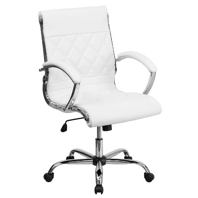 Executive Swivel Office Chair White Leather/Chrome Base - Flash