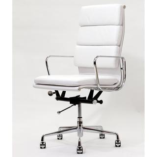 High Back White Leather Executive Office Chair - Overstock.com