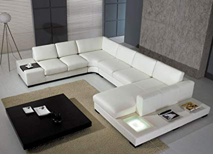 Amazon.com: Modern Leather 5 Piece Sectional Sofa in White: Kitchen