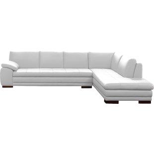 Cream Leather Sectional Sofa   Wayfair