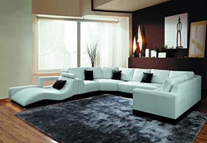 Amazon.com: 2264B Modern White Leather Sectional Sofa: Kitchen & Dining