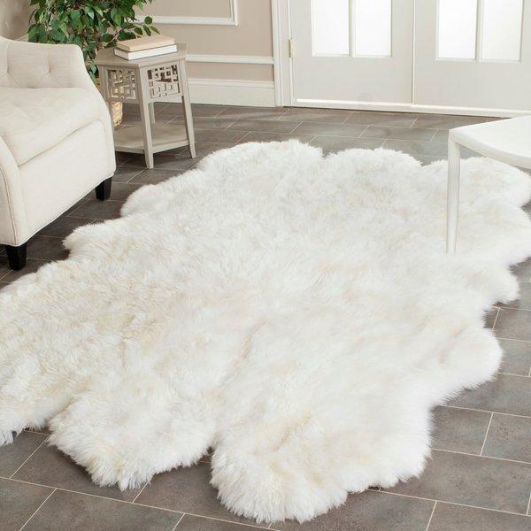 Shop Safavieh Hand-woven Sheepskin Pelt White Shag Rug - 5' X 8