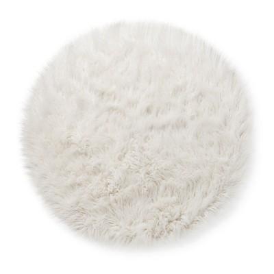 Faux Fur Rug (3' Round) White - Pillowfort™ : Target