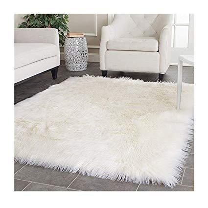 Amazon.com: Elhouse Home Decor Square Rugs Faux Fur Sheepskin Area