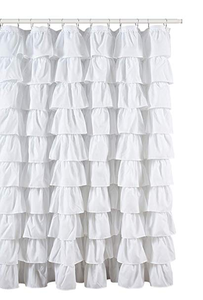 Amazon.com: Ruffled White Fabric Shower Curtain: Home & Kitchen