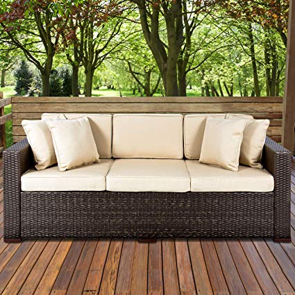 Amazon.com : Best Choice Products 3-Seat Outdoor Wicker Sofa Couch