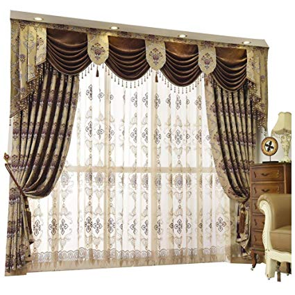 Amazon.com: Queen's House Luxury Baroque Pattern Window Curtains