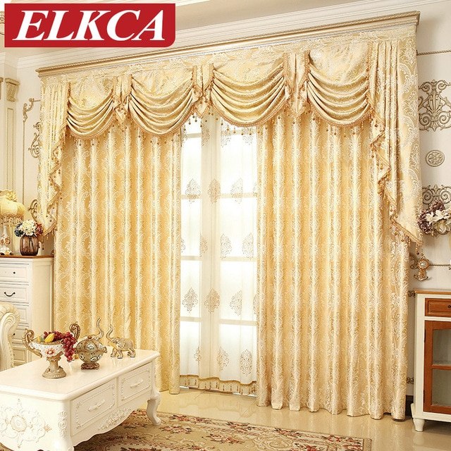European Golden Royal Luxury Curtains for Bedroom Window Curtains