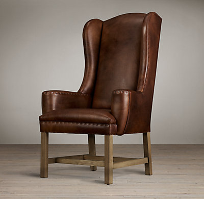 Belfort Wingback Leather Armchair Blue Velvet Dining Room Chairs
