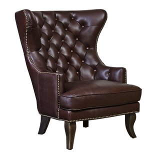 Solomon Leather Wingback Chair | Wayfair
