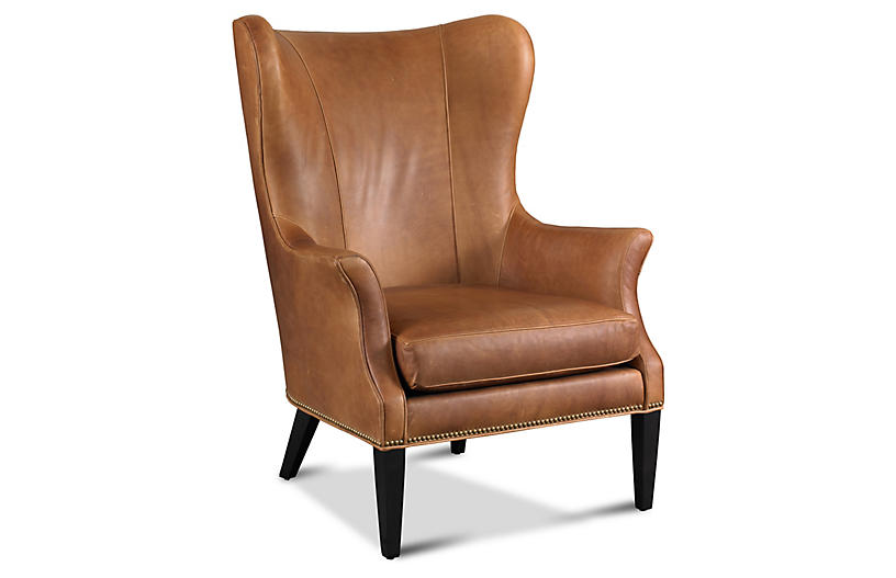 Tristen Wingback Chair - Saddle Leather | boston brownstone | Chair
