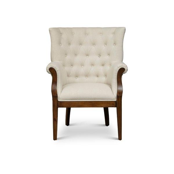 One Allium Way Blanca Fabric Upholstered Wooden Armchair | Wayfair