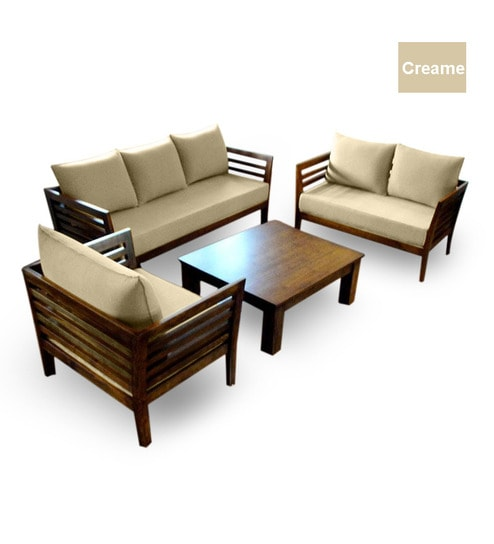 Wooden Sofa Set (3+2+1 Seater + Coffee Table) by Furny Online - Sofa