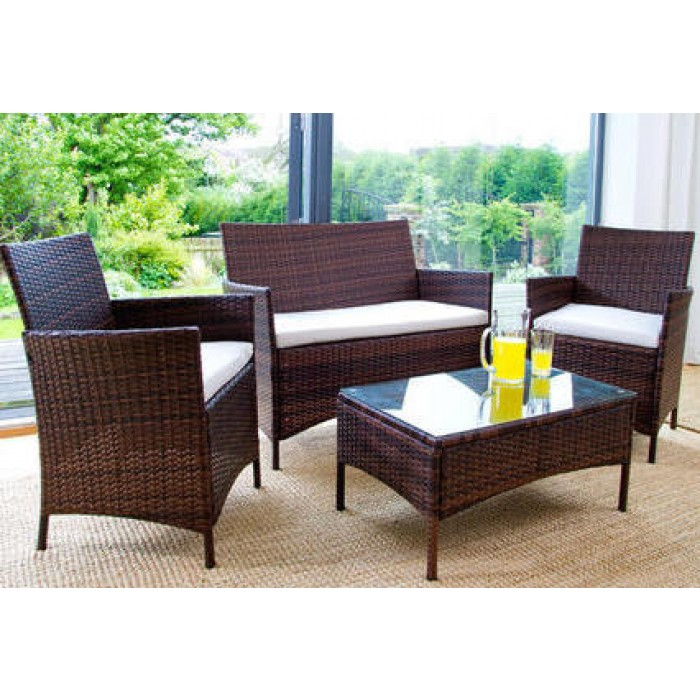 ... 4pc rattan garden furniture set - brown or black UUKXAPV