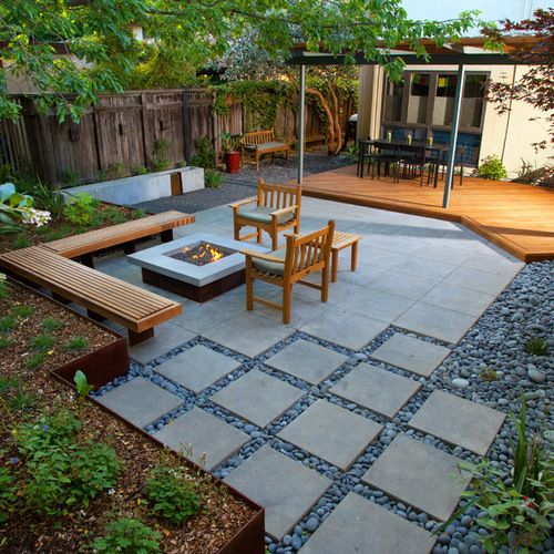 ... charming gray square modern stone landscape ideas for backyard  ornamnetal stone floor and outdoor ... NZRLIUZ