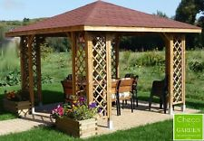 10ft x 10ft (ex 12ft x 12ft) garden wooden gazebo with optional shingles ! PBGAEHZ