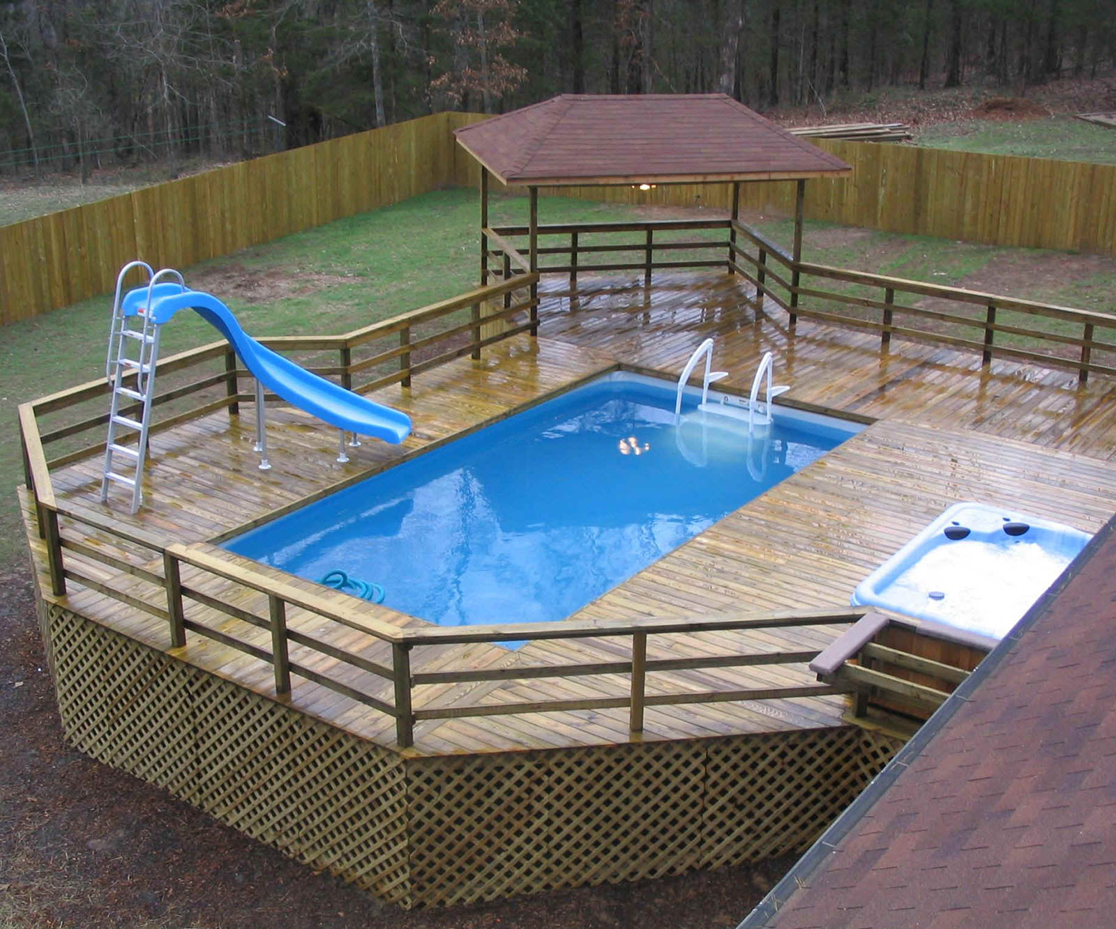 above ground pool with deck above ground pool deck design TWOYUDK