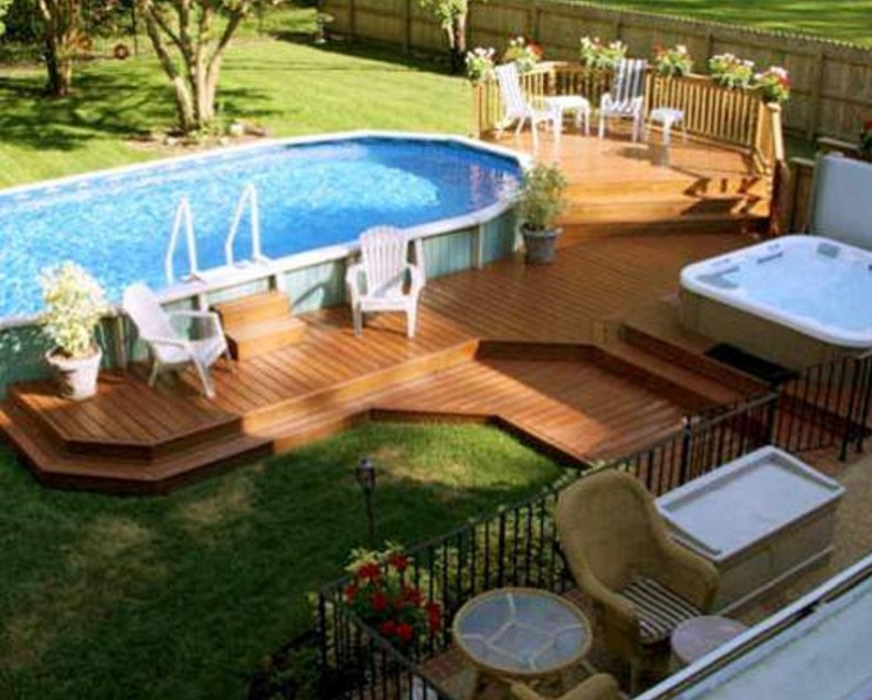 above ground pool with deck backyard landscaping decoration using above ground round-pool deck PTFRZCM