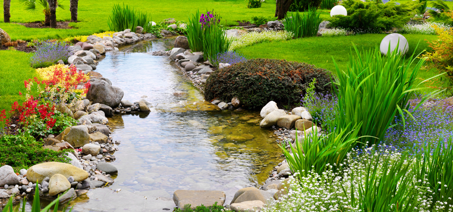 add a natural look to your house with water gardens YPGHOXO