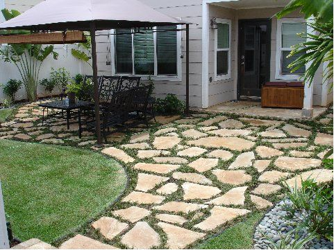add flagstone pavers beside driveway where spruce will be removed. pearl  city, hi flagstone GLICDEY