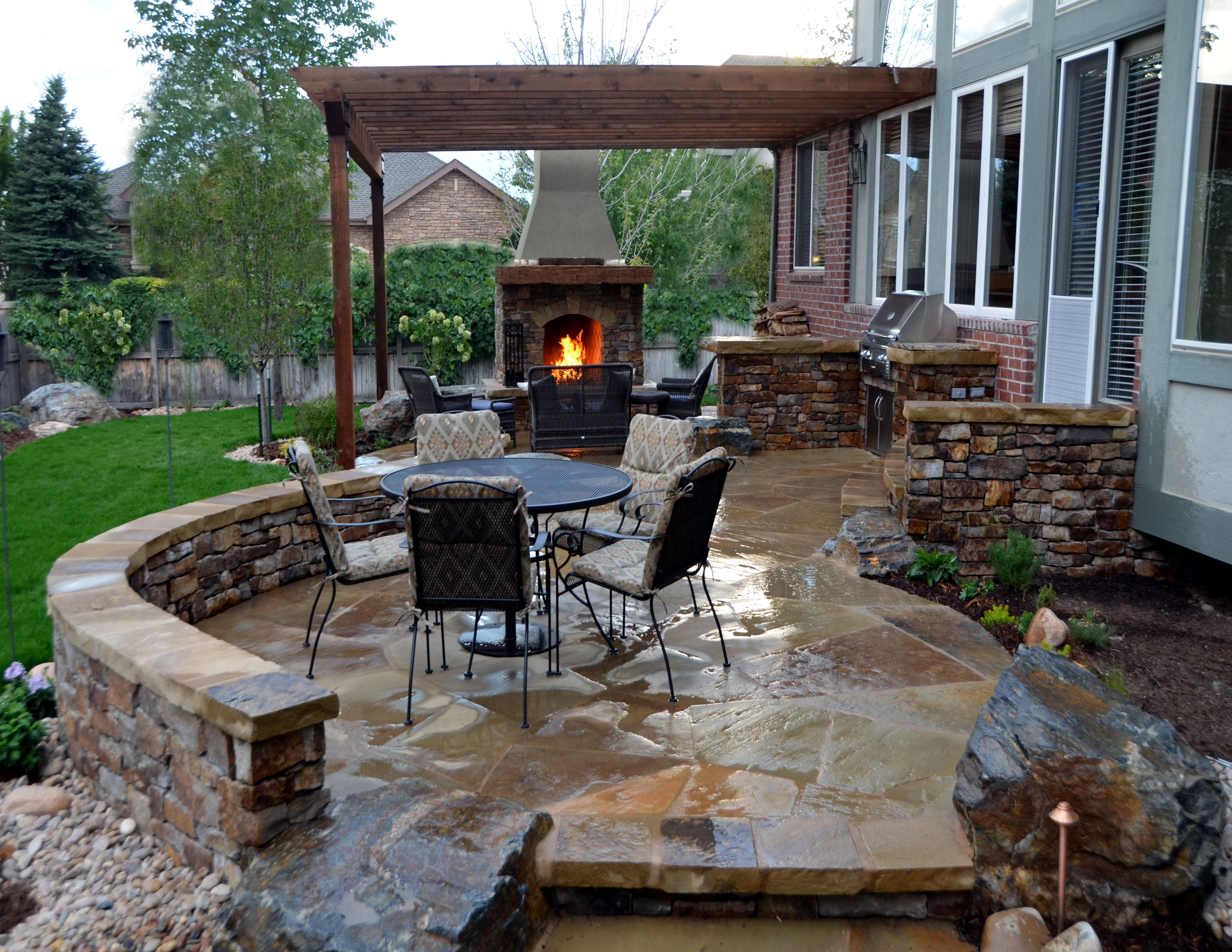 astounding roofless backyard patio ideas with granite floor and brick low  fence also fireplace KSNDTVC