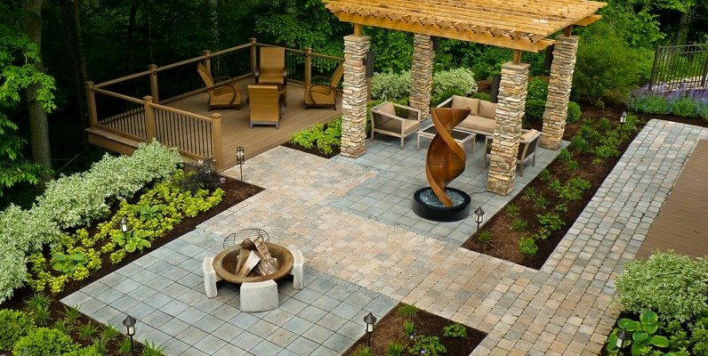 backyard ideas wheelchair accessible backyard backyard landscaping the cornerstone  landscape group fort wayne, in ENDQQZP